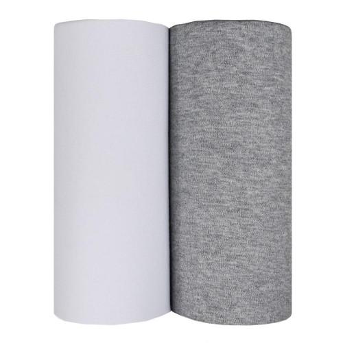 Living Textiles 2pk Jersey Wraps White Grey Melange
