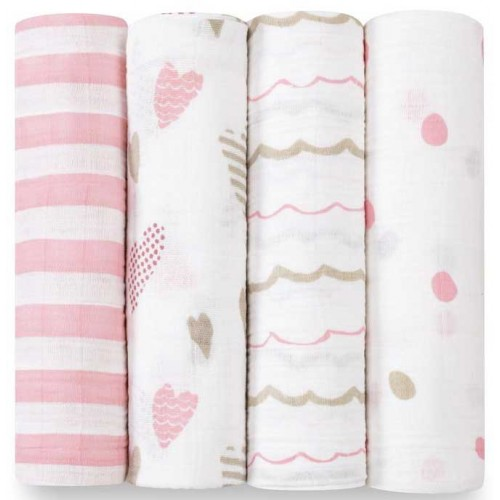 Aden Anais Classic Swaddles 4 Pack Heartbreaker