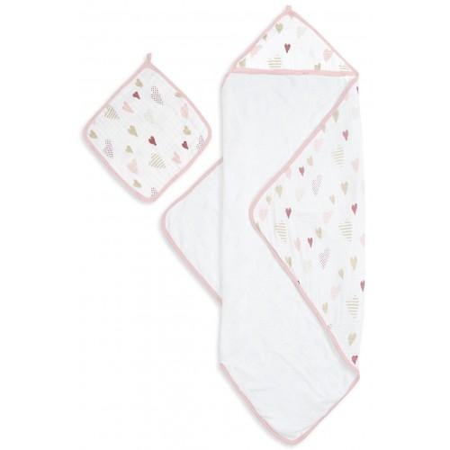 Aden Anais Muslin Backed Hooded Towel Set Heartbreaker