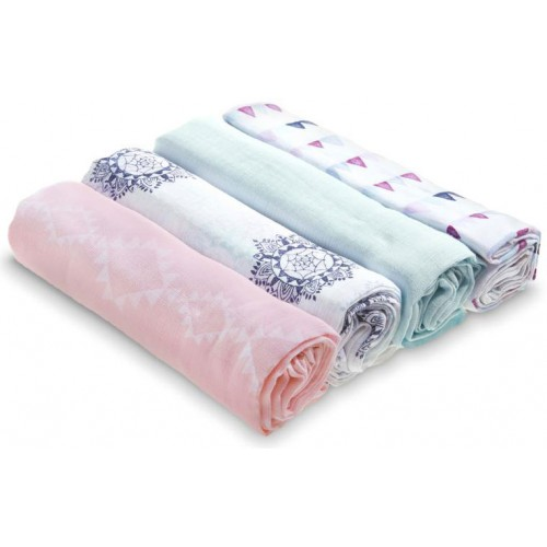 Aden Anais Classic Muslin Swaddles Pretty Pink 4 Pack