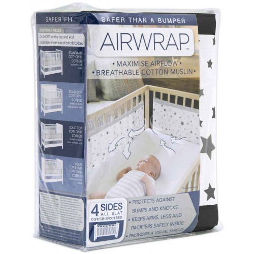 Airwrap Muslin 4 Sided Cot Black Star