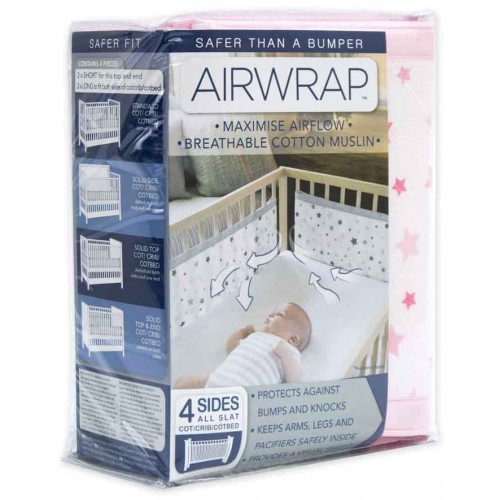 Airwrap Muslin 4 Sided Cot Pink Star
