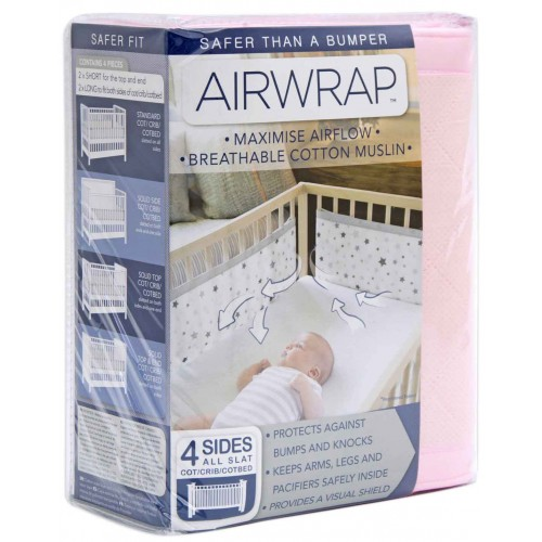 Airwrap Muslin 4 Sided Cot Pink