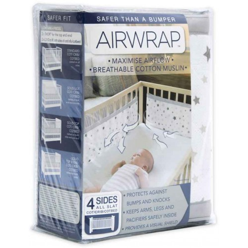 Airwrap Muslin 4 Sided Cot Silver Star