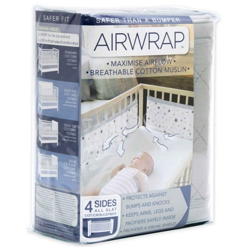 Airwrap Muslin 4 Sided Cot Silver