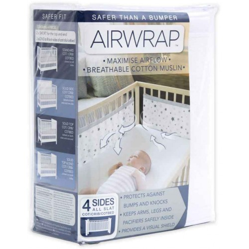 Airwrap Muslin 4 Sided Cot White