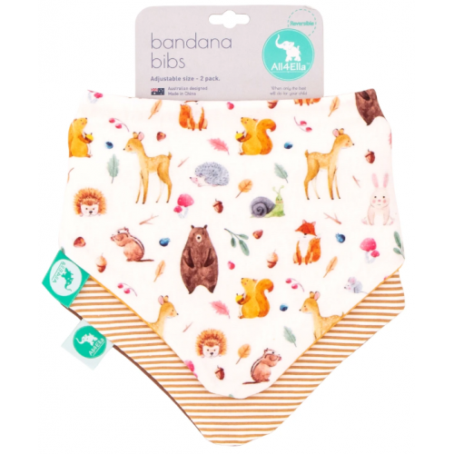 All4Ella Bandana Reversible Bib Forest