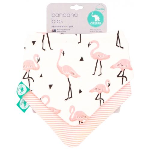 All4Ella Bandana Reversible Bib Flamingo