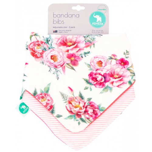 All4Ella Bandana Reversible Bib Floral