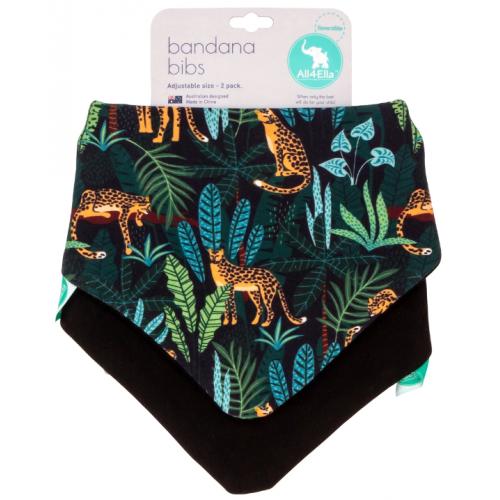 All4Ella Bandana Reversible Bib Jungle Leopard