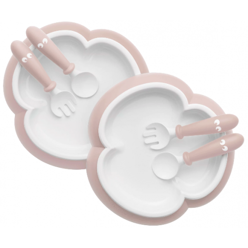 Baby Bjorn Baby Plate Spoon and Fork 2pce Powder Pink