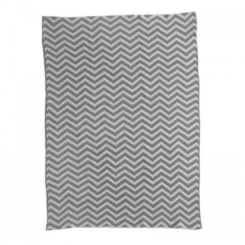 Living Textiles Essentials Chevron Knit Blanket Grey