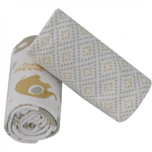 Living Textiles 2pk Jersey Wraps Gio Elephants