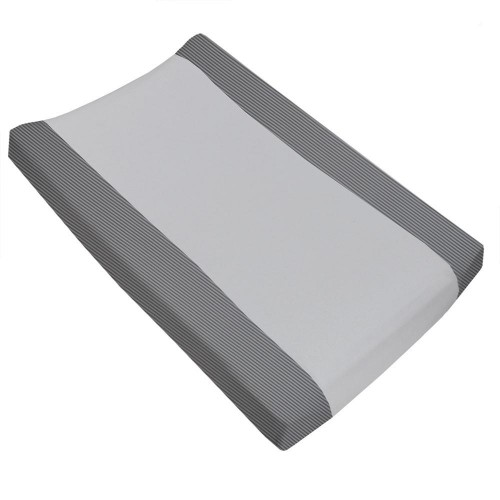 Living Textiles Jersey Change Pad Cover Grey Stripe Towelling