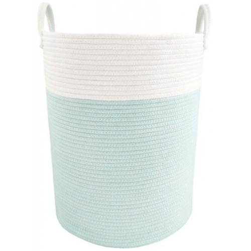 Living Textiles Cotton Rope Hamper Aqua White
