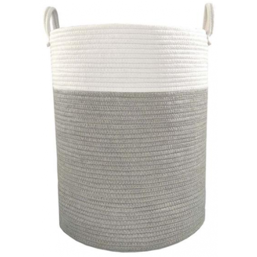 Living Textiles Cotton Rope Hamper Grey White