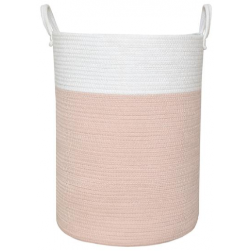 Living Textiles Cotton Rope Hamper Blush White