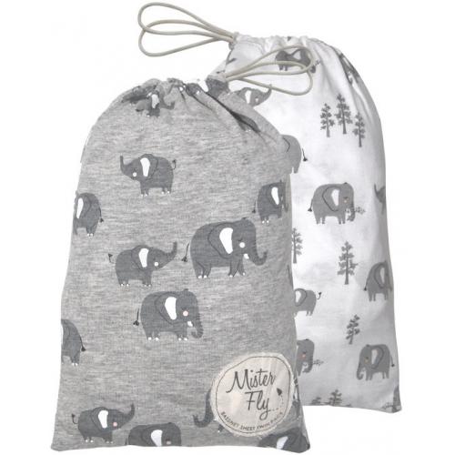 Mister Fly Jersey Bassinet Sheets Elephant