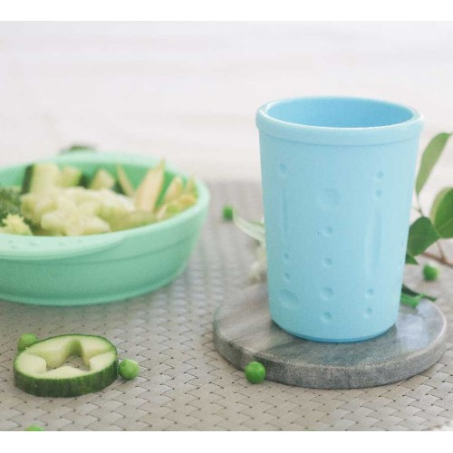 Little Woods Silicone Bowl and Cup Set Mint Blue