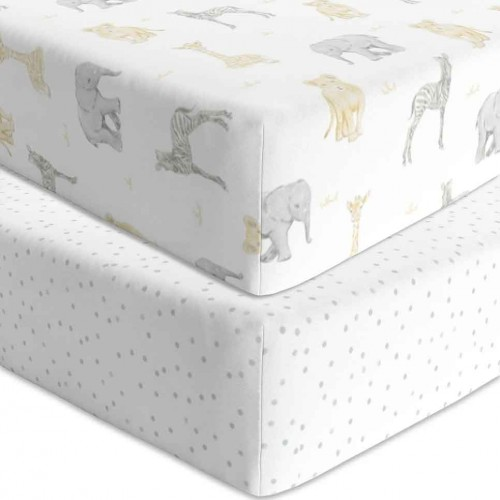 Living Textiles Cot Fitted Sheets Savanna