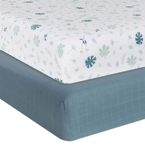 Living Textiles Cot Fitted Sheets Banana Leaf