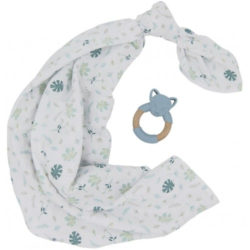 Living Textiles Swaddle and Teether Gift Set Banana Leaf