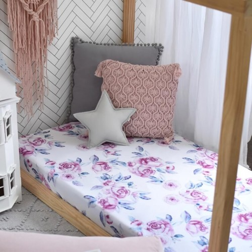 Snuggle Hunny Fitted Cot Sheet Lilac Skies