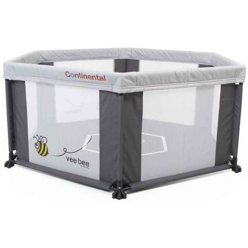 Veebee 6 Sided Play Yard Marble Grey