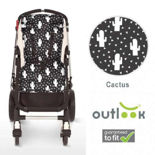 Outlook Cotton Pram Liner White Cactus