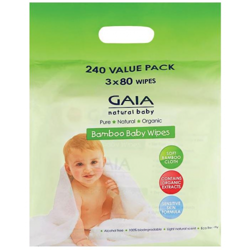 Gaia Bamboo Baby Wipes 240pk