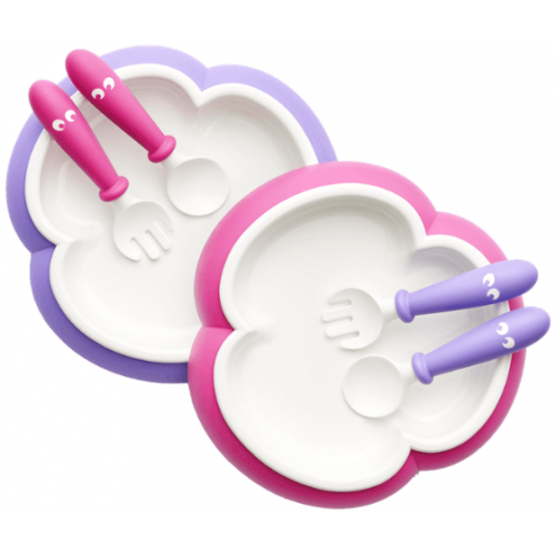 Baby Bjorn Plate, Spoon & Fork 2 Set Pink and Purple