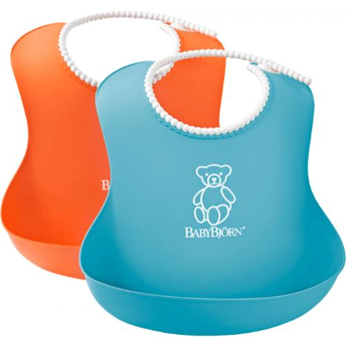 Baby Bjorn Soft Bib Orange and Turquoise