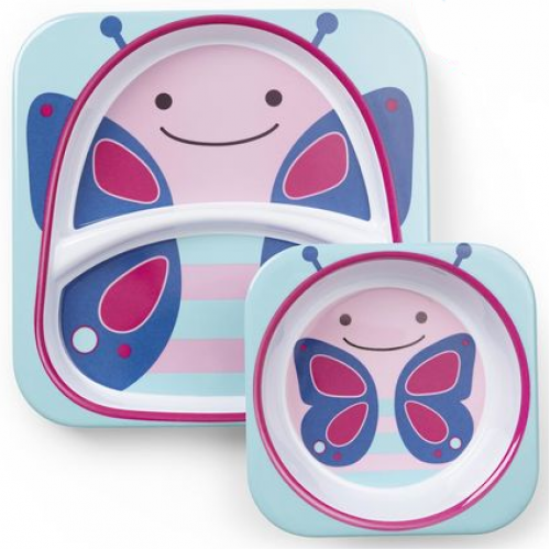 Skip Hop Zoo Plate and Bowl Set Butterfly