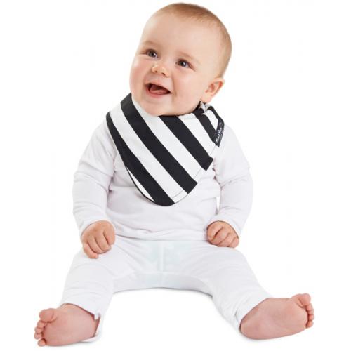 Mum 2 Mum Fashion Bandana Wonder Bib Black White Stripes Black