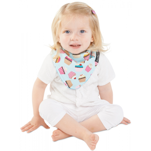 Mum 2 Mum Fashion Bandana Wonder Bib Cupcakes Teal