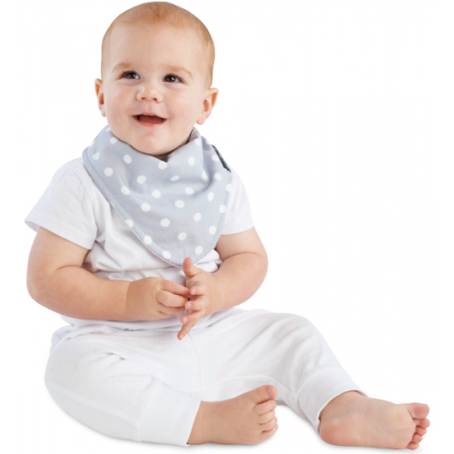 Mum 2 Mum Fashion Bandana Wonder Bib Grey Dots White