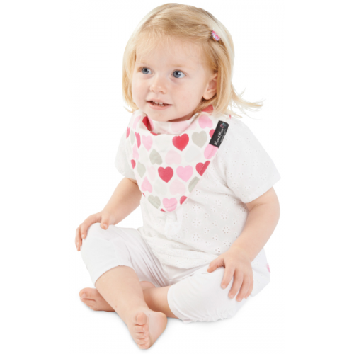 Mum 2 Mum Fashion Bandana Wonder Bib Muted Hearts Baby Pink
