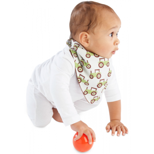 Mum 2 Mum Fashion Bandana Wonder Bib Tractors Chocolate