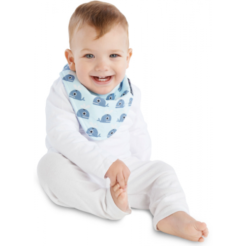 Mum 2 Mum Fashion Bandana Wonder Bib Whales Baby Blue