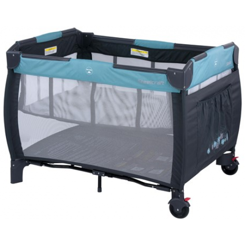 Steelcraft Siesta 2 in 1 Travel Cot Blue Leaves