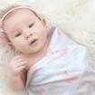 Living Textiles 2pk Jersey Wraps Swan Princess Pink Stripe