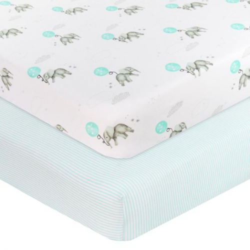Living Textiles 2pk Jersey Cot Fitted Sheet Dream Big Aqua
