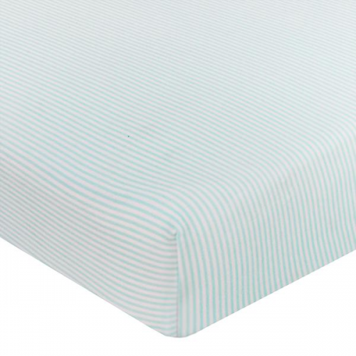 Living Textiles Jersey Cot Fitted Sheet Aqua Stripe