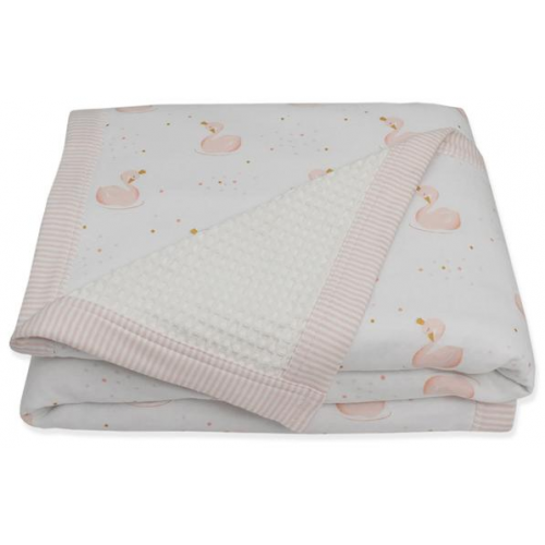 Living Textiles Waffle Jersey Cot Blanket Swan Princess