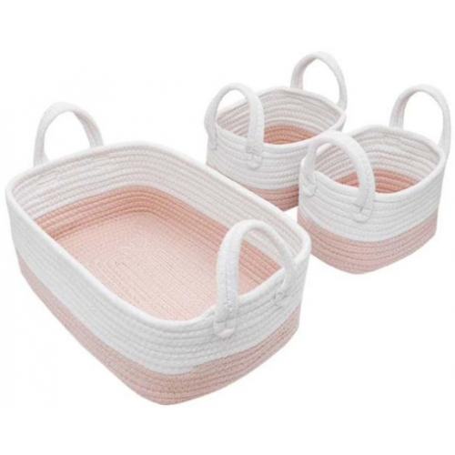 Living Textiles 3pc Rope Storage Set White Blush