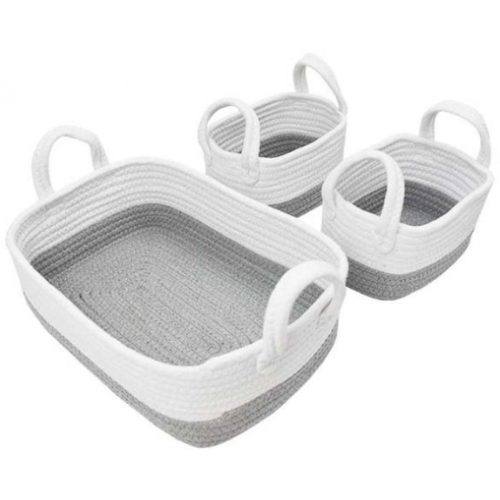 Living Textiles 3pc Rope Storage Set Grey White