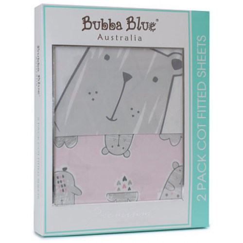 Bubba Blue 2pk Cot Fitted Sheet Beary Sweet
