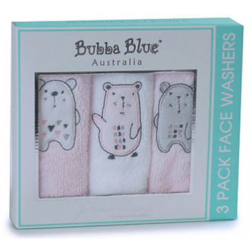 Bubba Blue 3pk Face Washers Beary Sweet