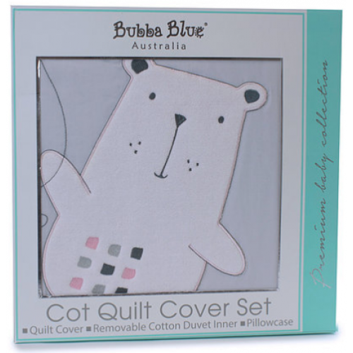 Bubba Blue Cot Quilt Cover Set Beary Sweet