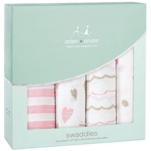 Aden Anais Classic Swaddles 4 Pack Heartbreaker